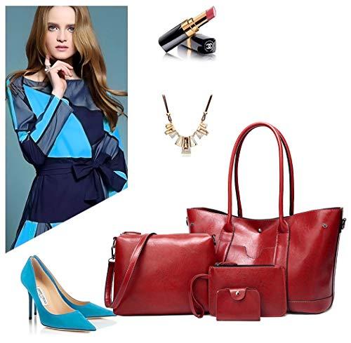 Sacs ensemble Femme Cartable Sacs Faux épaule Sacs main Cuir Rouge Vineux DEERWORD Bleu bandoulière 3pc portés portés main Sacs Sacs à q0xTfSfgn