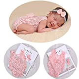 Baby Girl Photography Props Infant Cute Newborn Vest Lace Romper Bodysuit Pictures Clothing Monthly Photo Shoot Outfits