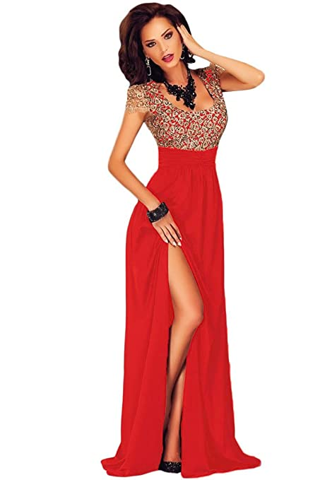 MAX MALL Mujeres Manga Corta Cordón Corte Alto Rojo Largo Vestido Maxi Vestido de Noche: Amazon.es: Ropa y accesorios