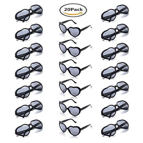 Onnea 20 Pieces per Case Wholesale Heart Shaped Neon Color Sunglasses Party Supplies,100% UV Protection (20-Pack Black)