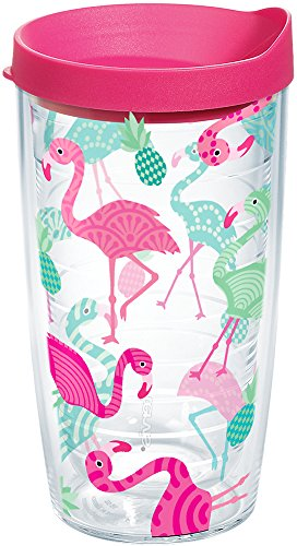 Tervis 1181470 Flamingo Pattern Insulated Tumbler with Wrap and Fuschia Lid, 16oz, Clear