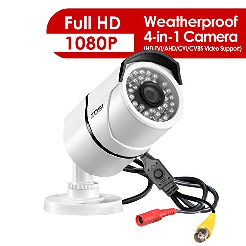 ZOSI 4 Pack 2.0MP HD 1080p 1920TVL Bullet Outdoor Indoor Security Camera Hybrid 4-in-1 HD-CVI TVI AHD 960H Analog CVBS ,36PCS LEDs,100ft IR Night Vision,Weatherproof Surveillance Camera White
