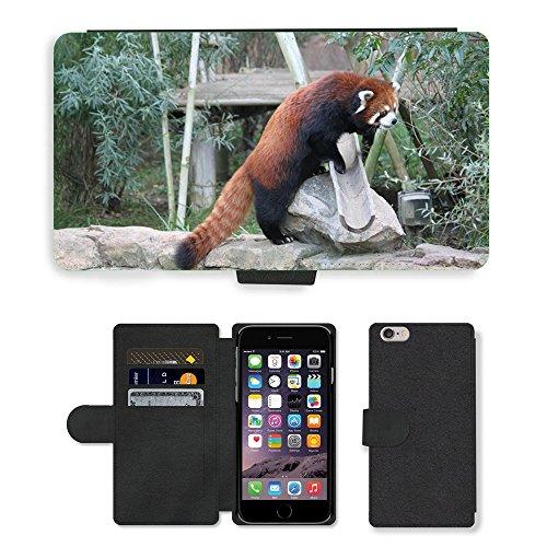 "Just Phone Cases PU Leather Flip Custodia Protettiva Case Cover per // M00129014 Red Panda Panda Bear Mammifère Mignon // Apple iPhone 6 PLUS 5.5"""