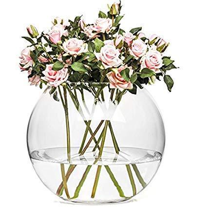 Cristal redondo contemporáneo pecera estilo florero y#x2205;14/12,5 cm alto Blisterland: Amazon.es: Hogar