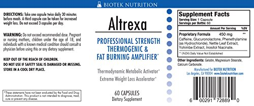 Altrexa by Biotek Nutrition – Powerful Thermogenic Diet Pill Fat Burner for Fast Weight Loss