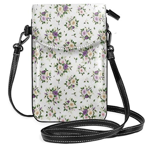 Women Small Cell Phone Purse Crossbody,Lisianthus Flower Bouquet Wedding Inspired Arrangement Purity And Love Theme