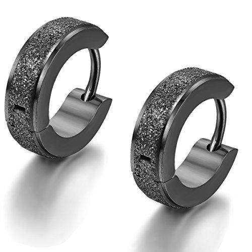 Goth Hoop - Flongo Men's Classic Stainless Steel Black Matte Hoop Huggie Stud Earrings, Polished Finish Edge Hoop Huggy Earrings for Men Women, Christmas Valentine Gift Hinged Hoop Earrings