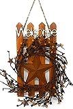D.I. Inc Welcome Wood Metal Star 3D Rustic Sign Wreath Wall Barn Front Door Decor Indoor Outdoor 16'' x 12'' (MultCol Rustic Stars)