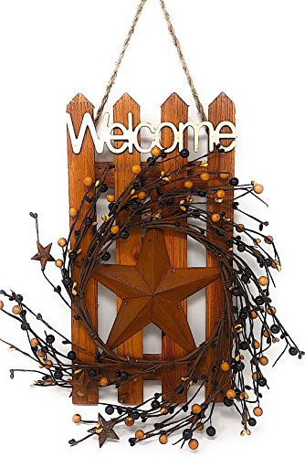 D.I. Inc Welcome Wood Metal Star 3D Rustic Sign Wreath Wall Barn Front Door Decor Indoor Outdoor 16