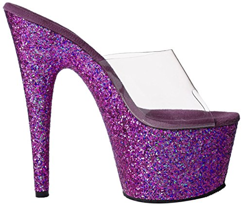Pleaser Adore 701Lg, Sandalias, Mujer Clr/Purple Holo Glitter