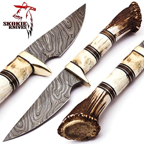 - Skokie Knives Custom Hand Made Damascus Steel Hunting Knife Handle Stag Antler