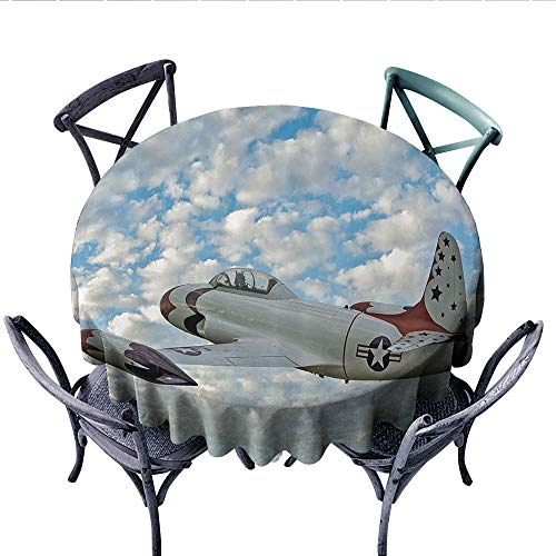 Airplane Decor Collection Printed Circle Tablecloth Vintage Plane in Mid-Air American Military Sky Aerospace Aircraft Fighter Jet Image Stain Resistant Wrinkle Tablecloth (Round, 54 Inch, Blue White) ()