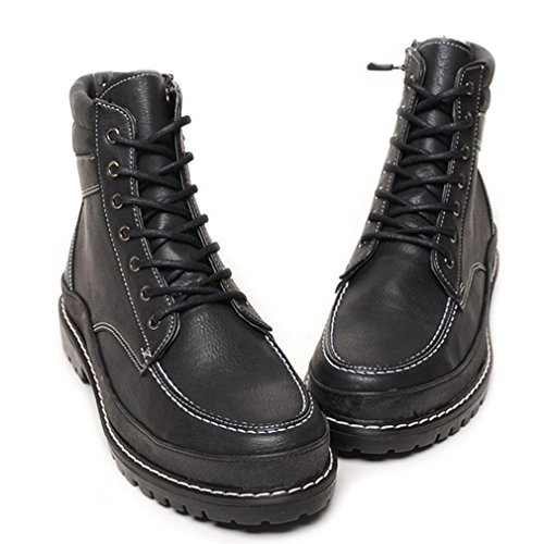 EpicStep Combat Top Mens Lace Black Up Boots Casual Zip Ankle High Shoes Hiking Work rwrq1X6n