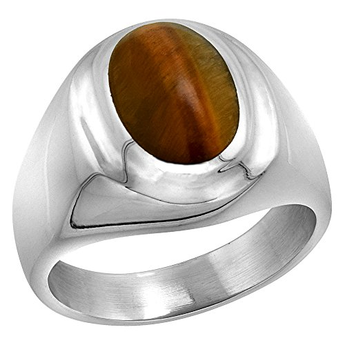 Sterling Silver Tiger Eye Ring for Men Oval Recessed Rim Solid Back Handmade, size 11