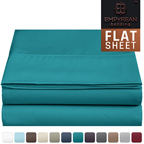 Premium Flat Sheet - Luxurious & Soft Twin Size Linen Flat Teal Blue Sheets - Hotel Quality Brushed Microfiber (Single) Flat Bed Sheet Hypoallergenic Bedroom Essentials By Empyrean Bedding (Vintage Flat Sheet)