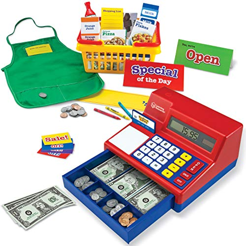 Learning Resources Lets Shop! Market Set, Classic Cash Register, Play Food with Shopping Cart, 95Piece, Ages 3+