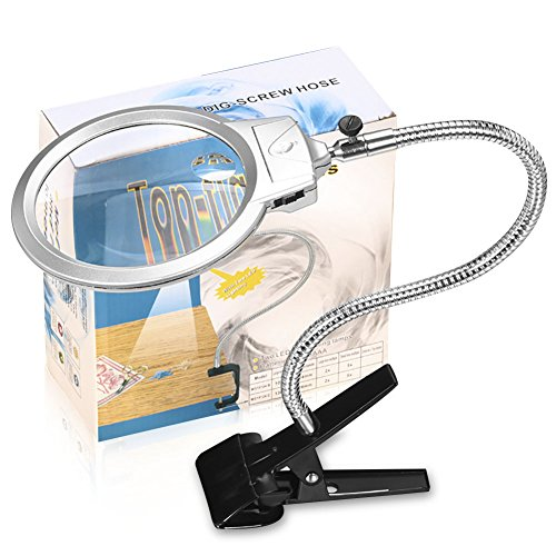 Illuminated Magnifying Lamp 2 X 5X Lens for Reading and Close Work & Clip on Magnifier Glass with Light Folding Detachable Aluminum Handle 360° (Illuminated Magnifying)