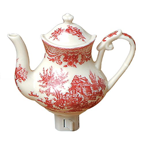 Green Pastures Wholesale Red Toile Teapot Porcelain Night Light, 5-Inch by 4-Inch by 6-Inch