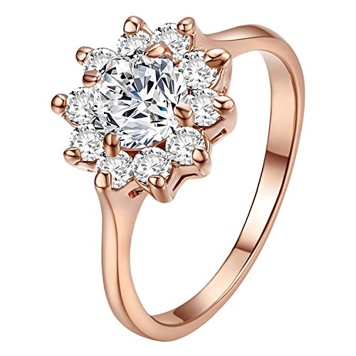 Yoursfs Crystal CZ Anniversary Ring for Women Bridal Ring Engagement Snowflake 18K Rose Gold Color Flower Cluster Ring (Size ()