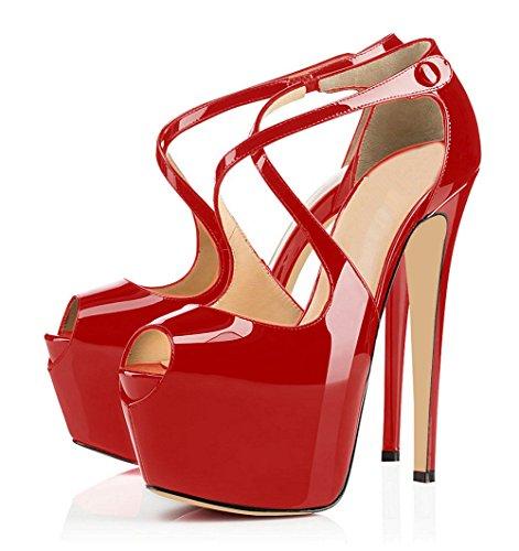ELASHE Mujer Tacón Crossstrap Fiestas Toe Plataforma de 15CM Aguja 4CM Rojo Mujer Oficina Tacones Peep para Zapatos O4TqwUrO