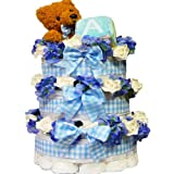 Art of Appreciation Gift Baskets Sweet Baby Diaper Cake Gift Tower with Teddy Bear, Boy