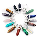 Qimoshi 15Pcs Assorted Packing Healing Pointed Chakra Pendants for Diy Jewelry Necklace Making Crystal Gemstone Pendant