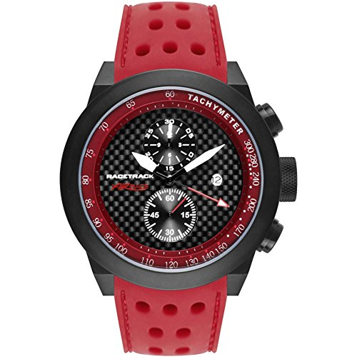 Glam Rock Men's Racetrack 48mm Red Silicone Band IP Steel Case Quartz Black Dial Analog Watch GRT29116F-N