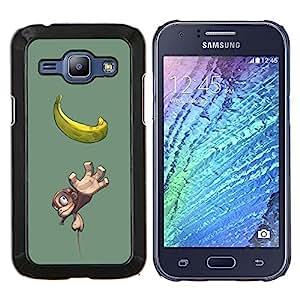 "Be-Star Único Patrón Plástico Duro Fundas Cover Cubre Hard Case Cover Para Samsung Galaxy J1 / J100 ( Plátano Mono Mono Amarillo Dibujo Fruta"" )"