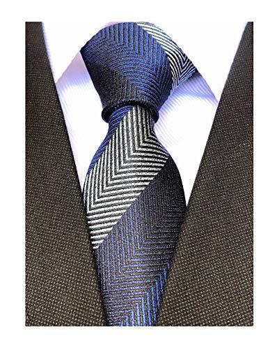 Men Navy Blue Herringbon Ties Striped Patterned Accessory Evening Dress Suit Narrow Necktie - Herringbone Striped Suit