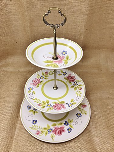 (Three Tier Stand, Cake Stand, Dessert Stand, Cup Cake Stand, Jewelry Stand, Vanity Tray, Appetizer, Tidbit, Center Piece, Shabby Chic )