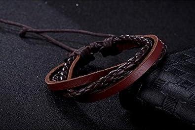 e47e2f4c5933 Surfista pulsera brazalete cuero trenzado cuatro filas marrón unisex  ajustable 16cm a 21cm  Amazon.es  Joyería