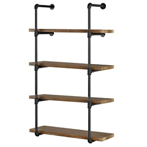"Yuanshikj 2Pc (56"" Tall 12""deep,3/4"") Industrial Wall Mount Iron Pipe Shelf Shelves Shelving Bracket Vintage Retro Black DIY Open Bookshelf Storage Office Room Kitchen (2 Pcs 5Tier Hardware Only)"