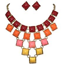 Multi Color Stacked Squares Statement Bib Bubble Necklace Earrings Set