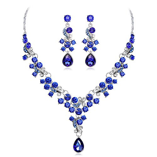 〓COOlCCI〓Bridal Austrian Crystal Necklace and Earrings Jewelry Set Gifts fit with Wedding Dress Blue
