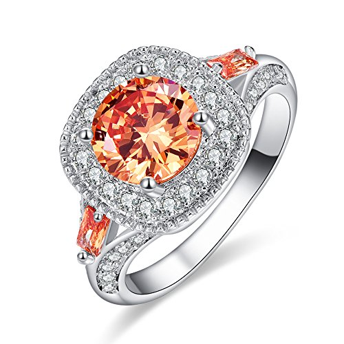 Veunora 925 Sterling Silver 8x8mm Morganite Filled Halo Ring for Women Size 6