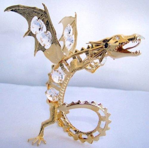 Swarovski Crystal & 24K Gold Plated Dragon with Gazing Ball Free Standing