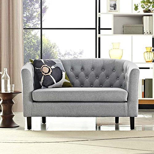 Modway Prospect Upholstered Contemporary Modern Loveseat In Light Gray