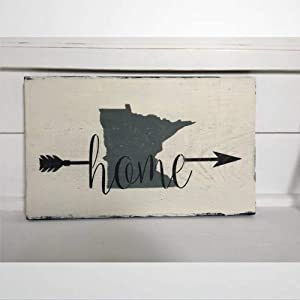 BYRON HOYLE Home Minnesota Wood Sign,Wooden Wall Hanging Art,Inspirational Farmhouse Wall Plaque,Rustic Home Decor for Living Room,Nursery,Bedroom,Porch,Gallery Wall