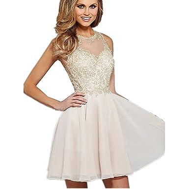 da9597cdd57 Amazon.com  CG A-Line Princess Jewel Neck Short Mini Prom Dress with ...