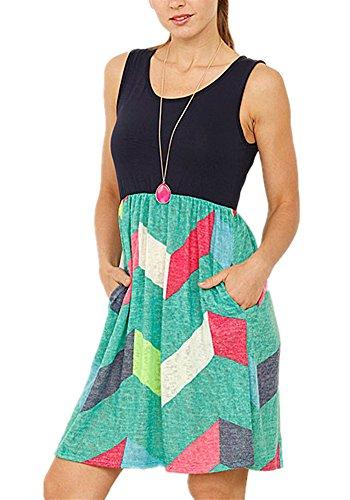 Poulax Women Casual Sleeveless Striped Print Swing Mini T Shirt Tank Dress,Z-Mint Green,M