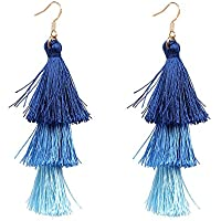 ERAWAN Women Fashion Bohemian Three Color Tassel Vintage Boho Hook Dangle Earrings EW sakcharn (Blue)