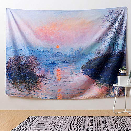 Impressions Wall Tapestry - IcosaMro Art Tapestry Wall Hanging, Impression Sunrise Monet Scenery Wall Tapestries [60x82.7][Hemmed Edges& Hooks]- Home Decor for Bedroom Living Room College Dorm