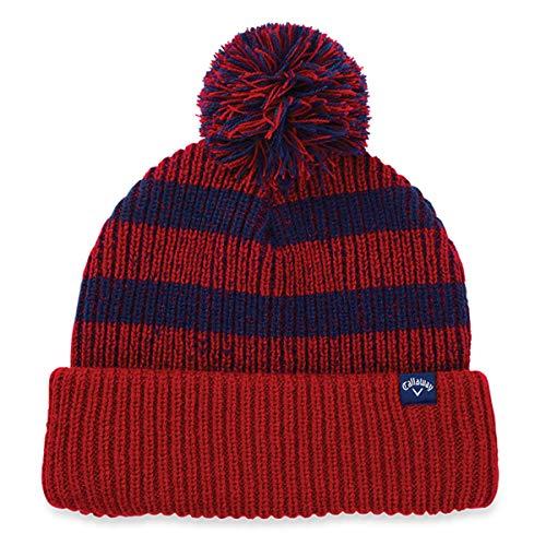 Callaway 2018 Mens Pom Pom Winter Golf Beanie Hat Red/Navy
