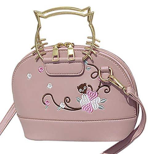 Cat Embroidered Handbags Metal Handle Bag Crossbody Women's Flower Bags QZUnique Shoulder Ear Pink 6w5zx