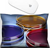 Luxlady Mouse Wrist Rest Office Decor Wrist Supporter Pillow IMAGE: 22222362 color liquid in petri dishes on blue background