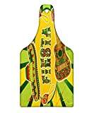 Lunarable Quote Cutting Board, Mexican Fiesta Party Invitation Sombrero and Music Instruments Maracas and Guitar, Decorative Tempered Glass Cutting and Serving Board, Wine Bottle Shape, Multicolor