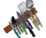 Powerful Magnetic Knife Holder | 16 Inch Cherry wood Solid Wall Mount Strip Tool Storage | Utensil Bar Rack & Kitchen Sets Organizer with Multi-Purpose Functionality