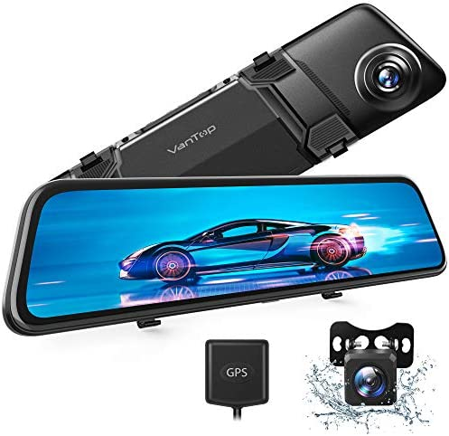 "VanTop H612 12"" 2.5K Mirror Dash Cam w/ Voice Control, GPS Tracking, IPS Full Touch Screen, Waterproof Backup Rear View Camera, Loop Recording, Night Vision, Parking Monitor for Cars"