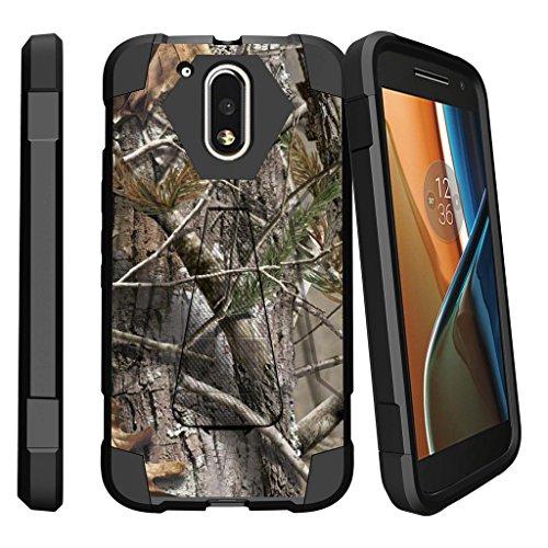Moto G4 Case, Moto G4 Plus Cover [SHOCK FUSION] Stand Shell Sleek Bumper Shell by Miniturtle - Tree Bark Hunter (Camo Phone Covers)