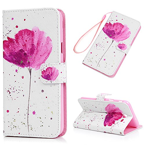 Price comparison product image Samsung Galaxy Note 4, Fashion Printed Wrist Strap Flip Folio Kickstand Feature PU Leather Wallet Cover with ID&Credit Card Pockets Magnetic Closure Protective Cover by YOKIRIN , Lotus